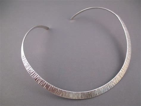hammered sterling silver collar necklace by duane maktima