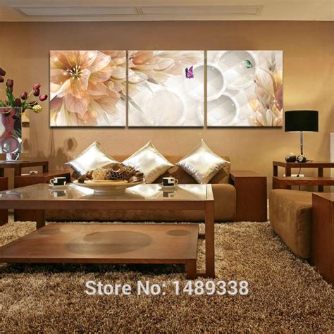 home decor for living room walls 3 panel flower home decoration living room wall painting
