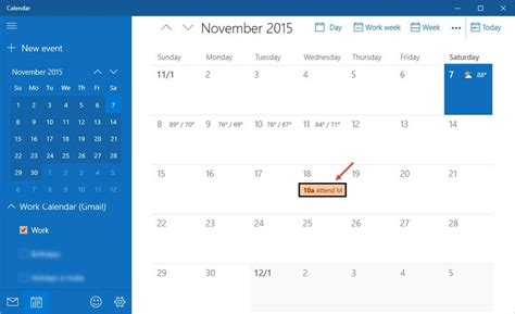 sync calendar with the calendar app in windows 10