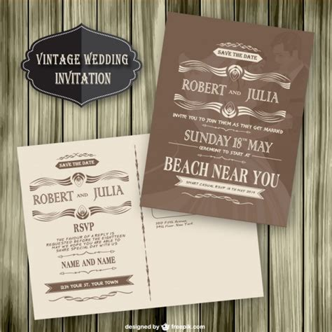 retro free printable wedding invitation templates vintage wedding invitation wood template vector free