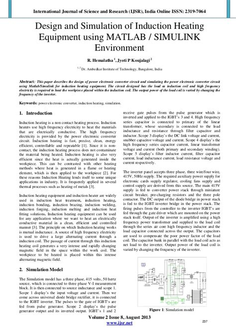 induction heating journal design and simulation of induction heating equipment using matlab s