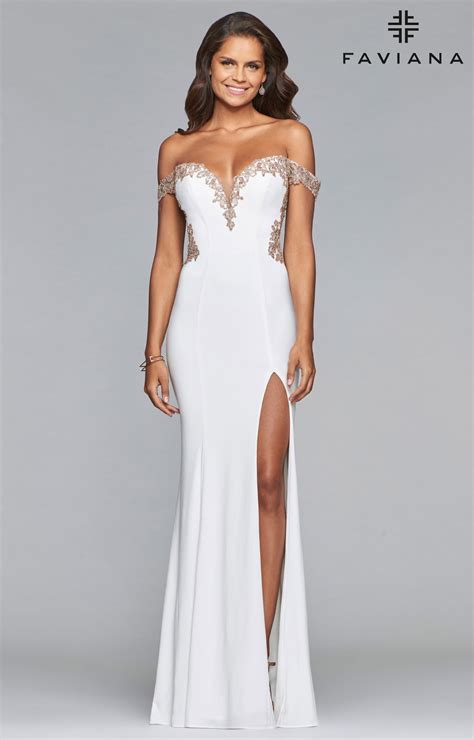 faviana  long fitted   shoulder jersey prom