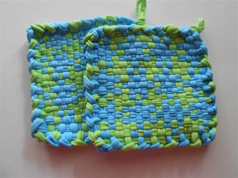 Handmade Pot Holders - handmade woven pot holders mug mats blue and green set of two