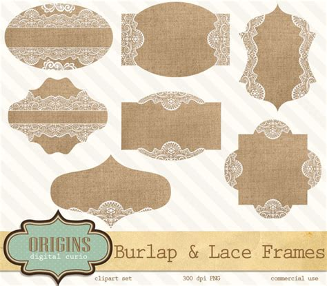 Burlap And Lace Frames Clipart Objects On Creative Market Burlap And Lace Template