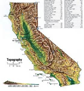 topographical map california topographical map of california