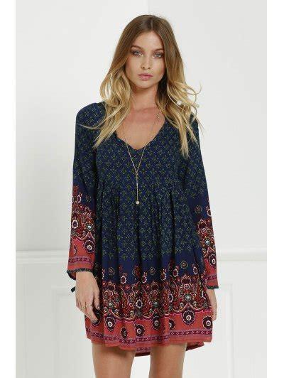 Wap Tunic Dress 3 4 sleeve floral tunic dress blue print dresses l zaful