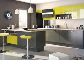 Amazing Quelle Couleur Pour Une Cuisine #3: Cuisine-grise-tabouret-bar-et-meuble-vert-anis-lapeyre.jpg