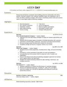Creative Resume Sles For Freshers Marketing Resume Templates Sle Resume Cover Letter Format