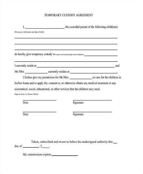 32 Free Temporary Custody Notarized Letter Pdf Download Docx Notarized Custody Agreement Template