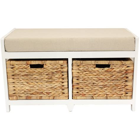 Home Hallway Bathroom Bench Seat With Seagrass Wicker Storage Baskets Cushion Ebay