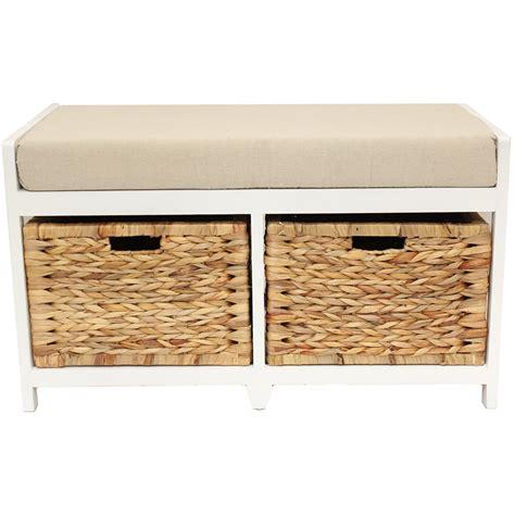 Home hallway bathroom bench seat with seagrass wicker storage baskets amp cushion ebay