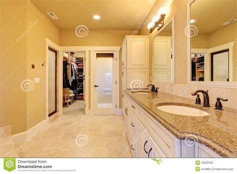 Walkin The Floor You by Spacious Bathroom With Walk In Closet Stock Photo Image