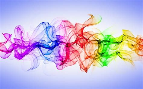 colored smoke isolated on white and blue background