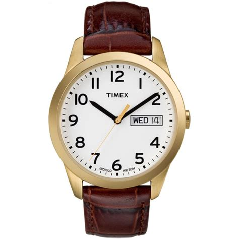 timex s t2n065 elevated classics dress brown leather