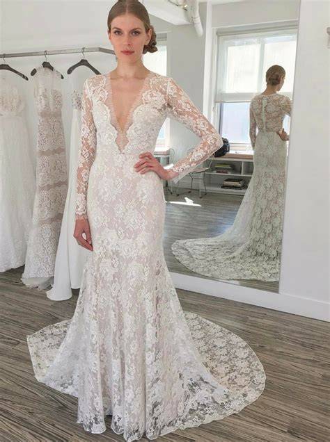 Lace Sleeve V Neck Sheath Dress sheath v neck sleeves sweep lace wedding dress