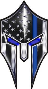 warriors bleed blue thin blue line spartan helmet decal