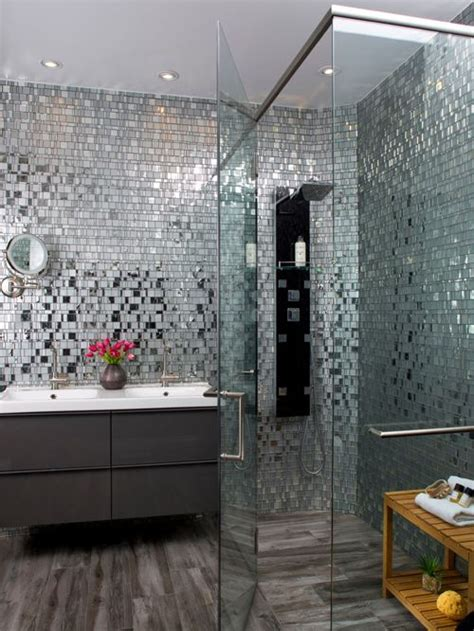 Modern Bathroom Mosaic Design Modern Grey Bathroom With Glass Mosaic Shower