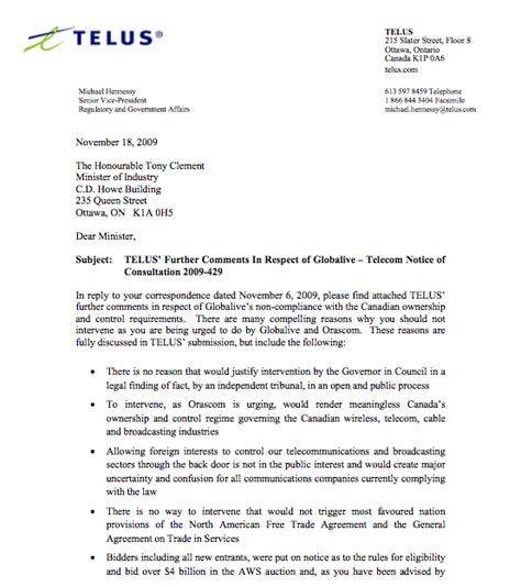 Nyu Decision Letter Sent Telus Urges Industry Minister Quot To Proceed With Caution Quot Regarding The Globalive Decision