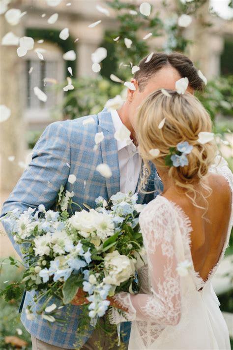 crisp white  powder blue wedding theme   romantic