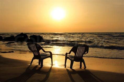 Chair Sessel 2267 by Traurig Sonnenuntergang Am Strand Stock Foto Colourbox