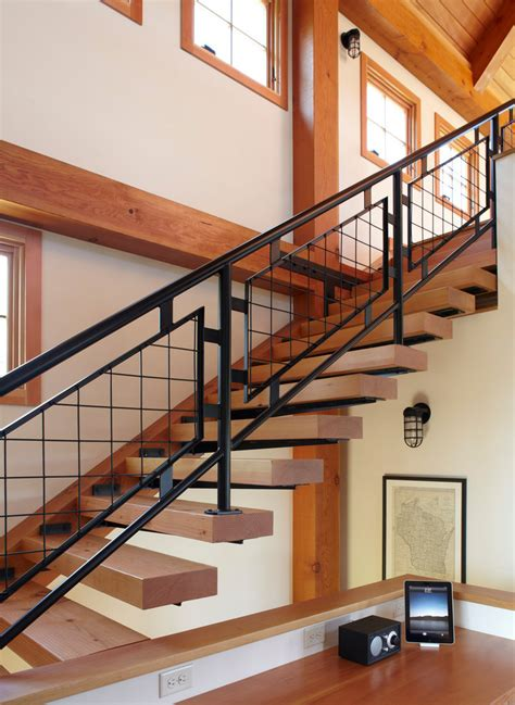 Stair rail ideas staircase farmhouse with decorative railing exposed beams beeyoutifullife com