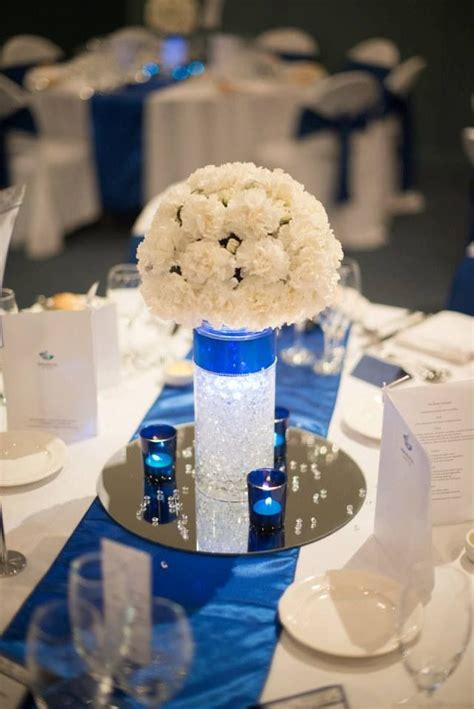 royal blue centerpiece for quinceanera quince