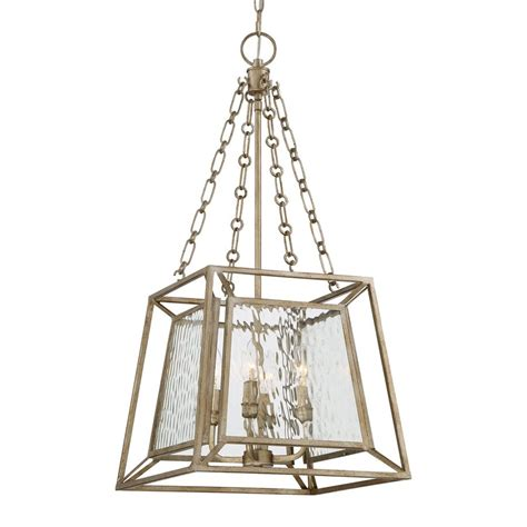 Gold Cage Chandelier Shop Quoizel Lakeside 15 In 4 Light Vintage Gold Textured