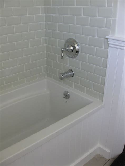 bathtub tiles 25 best ideas about beveled subway tile on pinterest glass cabinets classic white kitchen