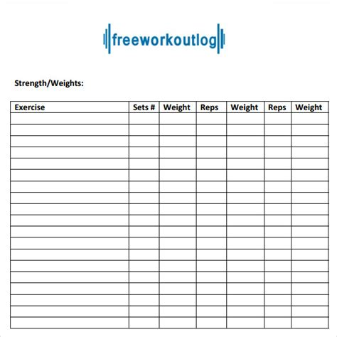 exercise program card template 9 workout log templates sle templates