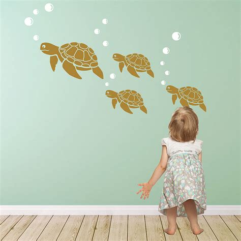 turtle wall stickers sea turtle wall sticker decals by snuggledust studios
