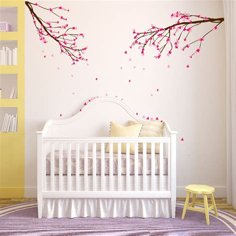 large wall tree nursery decal oak branches 1130 large wall nursery tree branch baby decal cherry blossom