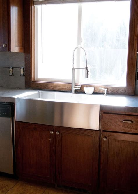 install farmhouse sink existing counter new stainless steel apron front sink how we installed it