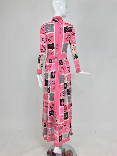 Gamis Jersey Embos Print Fushia vintage bessi silk jersey floral print maxi dress 1970s for sale at 1stdibs