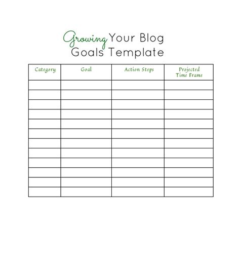 template for goals free printable goal setting template calendar template 2016