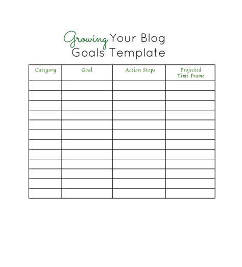 free printable goal setting template calendar template 2016