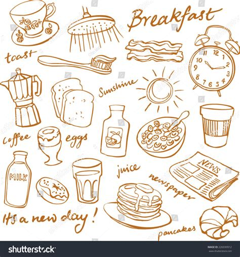 doodle food icons set breakfast food icons doodle set stock vector 226930912