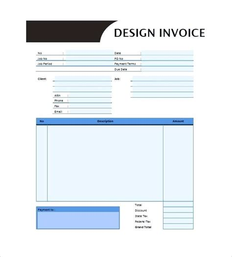 graphic design invoice template uk free editable invoice template pdf dinara me