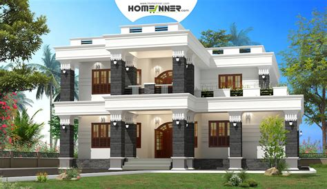 Indian House Plans With Photos by 4 Bhk Modern Box Type Flat Roof Home Design