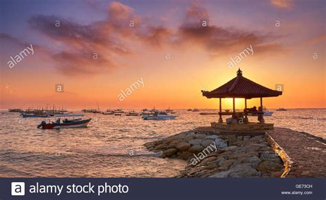 sanur beach  sunrise bali indonesia stock photo