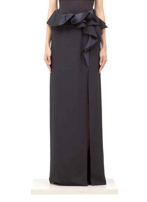 givenchy ruffle waist silk maxi skirt in black lyst