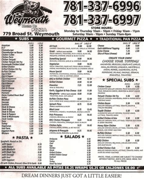 Weymouth House Of Pizza In East Weymouth Ma 02189 Citysearch