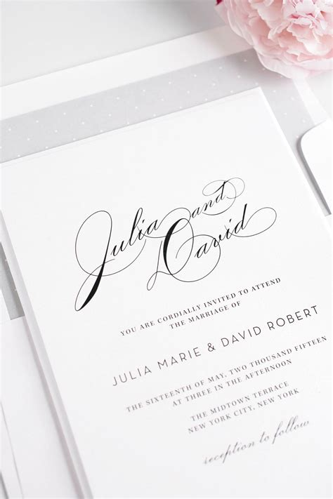 Silver Wedding Invitations by Vintage Typography Wedding Invitations In Silver Wedding