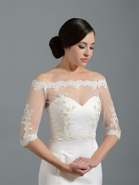 braut bolero spitze off shoulder lace bridal bolero wedding jacket shrug wj018