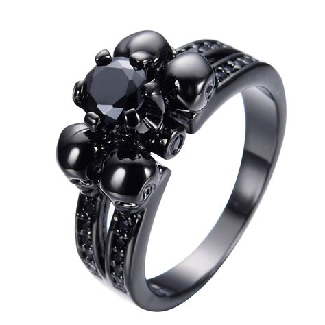 Halloween Party Vintage Black Sapphire Skull Jewelry Women