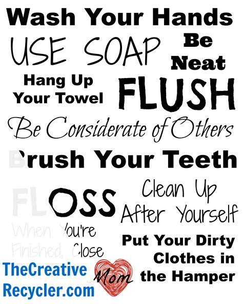 rules for the bathroom new year s resolution the creative recycler