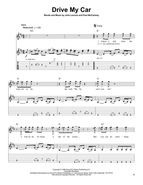 drive my car lyrics drive my car by the beatles guitar tab play along