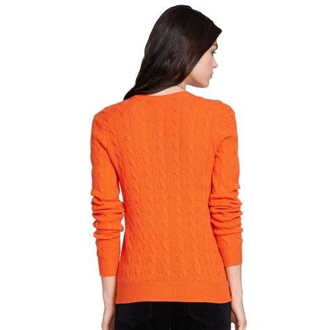 ralph v neck cable knit jumper womens polo ralph cable knit v neck sweater in orange