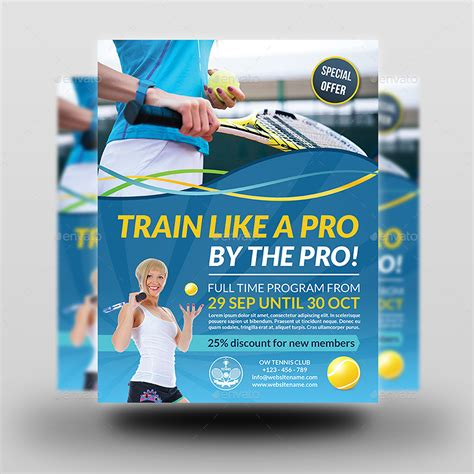 Tennis Training Flyer Template By Owpictures Graphicriver Course Flyer Template