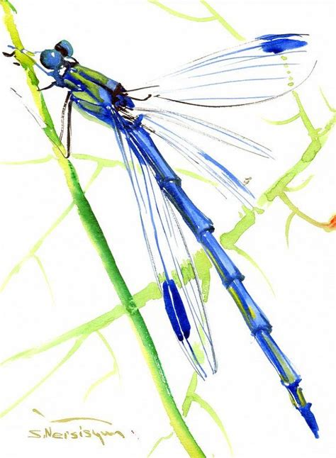 dragonfly l original blue dragonfly painting original watercolor 12 x 9 in