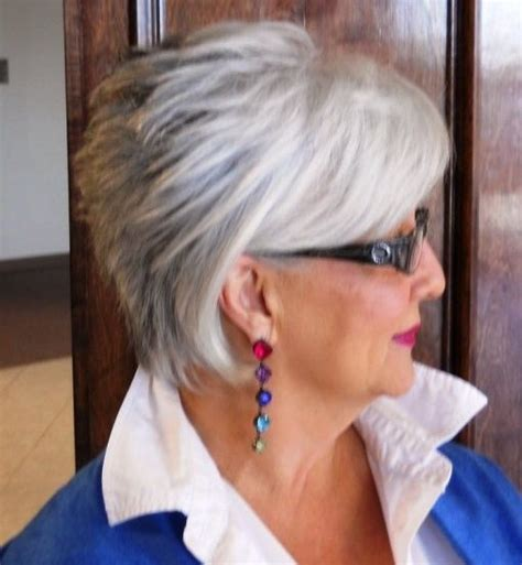haircuts for gray hair 50 and older short hair for women over 60 with glasses short